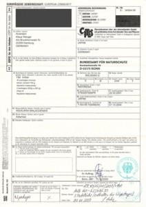 """Einfuhrgenehmigung vom """"Bundesamt für Naturschutz"""""""